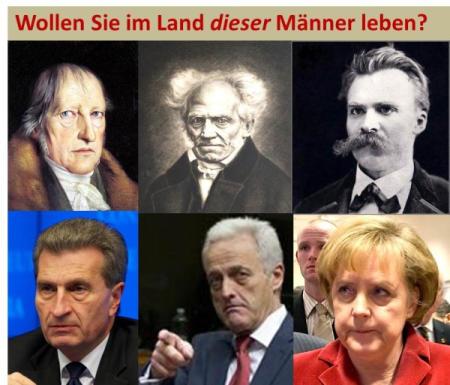 Hegel, Schopenhauer und Nietzsche sind out. Die Zukunft gehört den fröhlichen Deutschen, wenn es nach Angela Merkel geht. (Fotos: Gemälde von Schlesinger, Crivelli, PixtalRF – oberer Reihe; consilium/Oettinger, Ramsauer, Merkel)